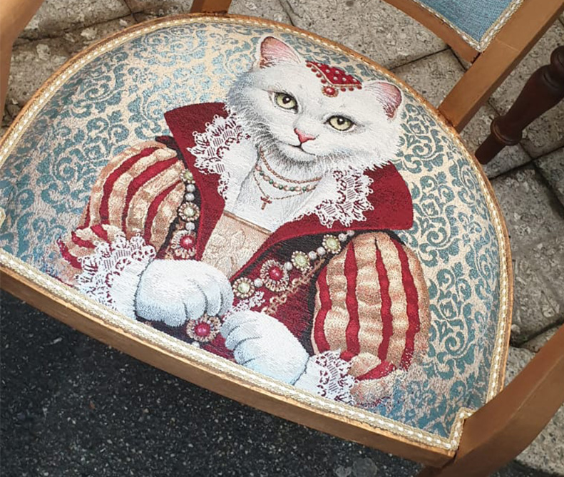 Tessuto gatto regina   sartoria MastroTappezziereIn