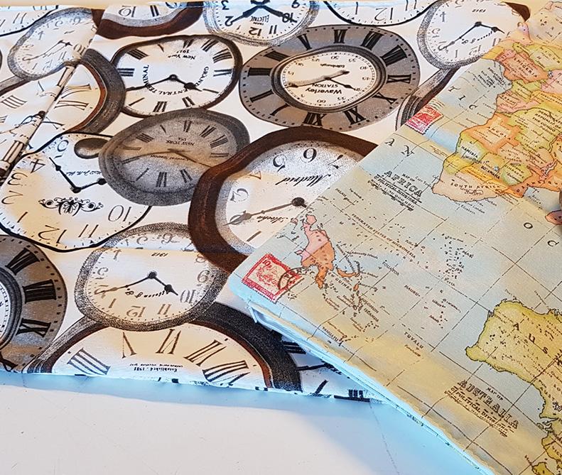 Tessuto orologio e mappa | sartoria MastroTappezziereIn